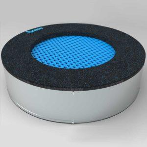 niebieska Trampolina ziemna - Okrągła - 100 cm - wkopana w ziemię, na równo ziemią, na plac zabaw,