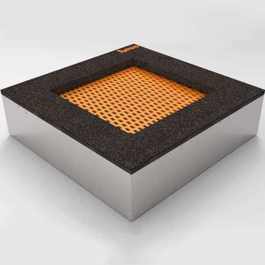 Bodentrampolin – Quad - 100x100cm. Trampolin im Boden montiert. Die Bodentrampoline werden einfach in einem dafür vorher speziell vorbereiteten Boden eingebaut.