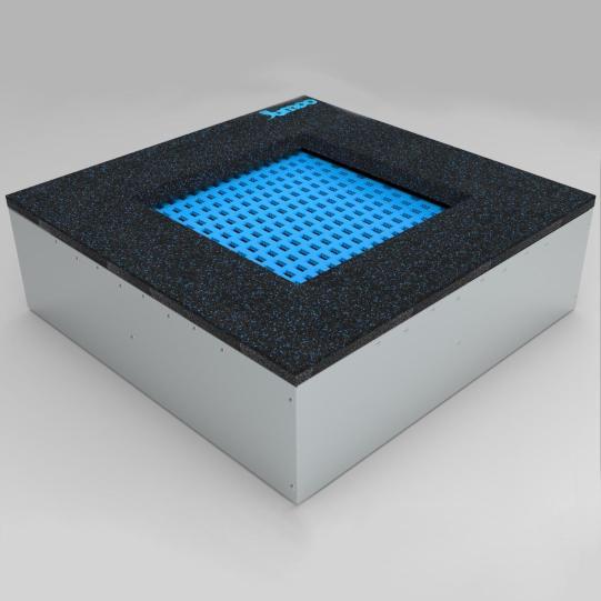 Bodentrampolin – Quad - 80x80cm. Trampolin im Boden montiert. Die Bodentrampoline werden einfach in einem dafür vorher speziell vorbereiteten Boden eingebaut.