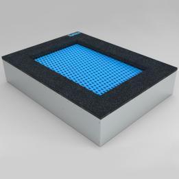 Niebieska Trampolina ziemna - Prostokątna - 100x150cm wkopana w ziemię, na równo ziemią, na plac zabaw, wandaloodporna, całoroczna