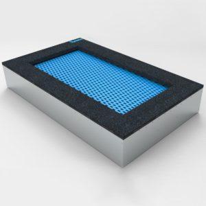 Niebieska Trampolina ziemna - Prostokątna - 100x200cm wkopana w ziemię, na równo ziemią, na plac zabaw, wandaloodporna, całoroczna