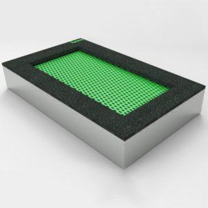 Zielona Trampolina ziemna - Prostokątna - 100x200cm wkopana w ziemię, na równo ziemią, na plac zabaw, wandaloodporna, całoroczna