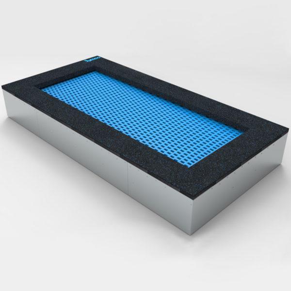 Niebieska Trampolina ziemna - Prostokątna - 100x250cm wkopana w ziemię, na równo ziemią, na plac zabaw, wandaloodporna, całoroczna