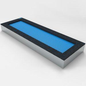 Niebieska Trampolina ziemna - Prostokątna - 100x400cm - wkopana w ziemię, na równo ziemią, na plac zabaw, wandaloodporna, całoroczna