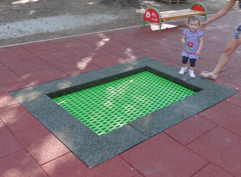 Green square trampoline