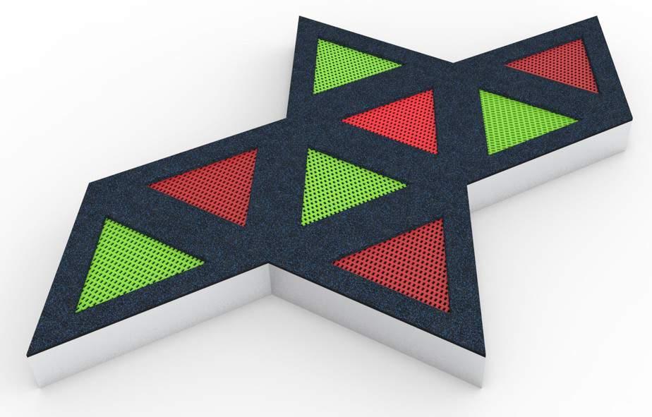 zestaw trampolin trójkątnych